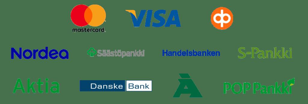 MasterCard, Visa, OP, Nordea, Säästöpankki, Handelsbanken, S-pankki, Aktia, Danskebank, Ålandsbanken, POP-pankki